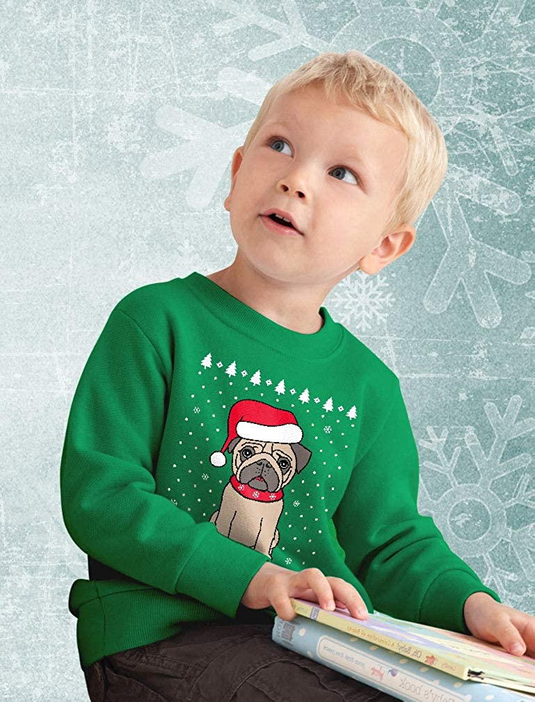 Funny Ugly Christmas Puppy Pug Humpug Dog Toddler//Kids Sweatshirt Tstars