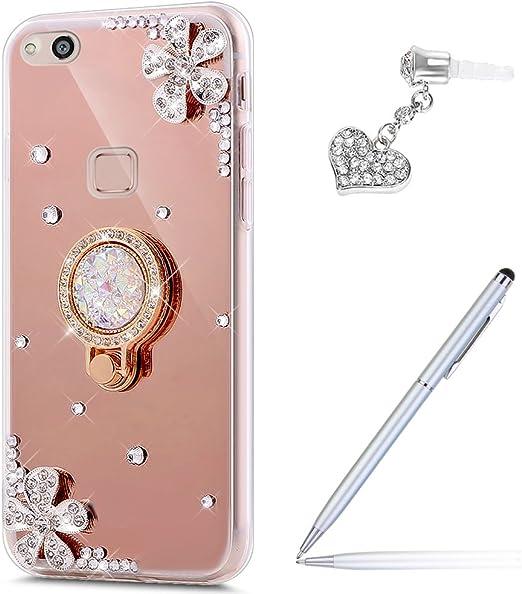 Funda Ikasus para Huawei P10 Lite, con purpurina, con bolígrafo, con protección antipolvo, con espejo, con anillo para una mejor sujeción, de silicona, con diamantes brillantes, con flores, de silicon: Amazon.es: Hogar