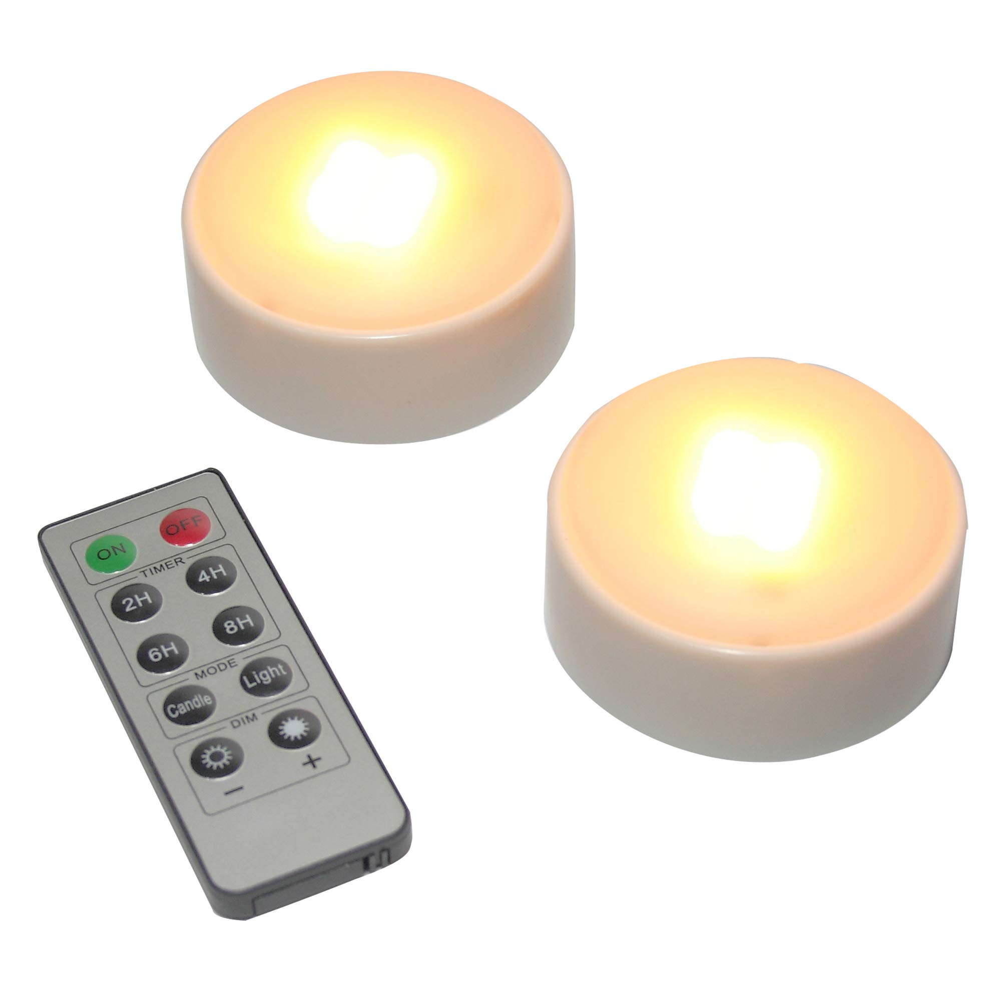 LED Pumpkin Lights with Remote and Timer, Battery Operated Bright Flickering Flameless Candles for Pumpkin Decor, Jack-O-Lantern Halloween Party Decorations, White Color, 2 Pack