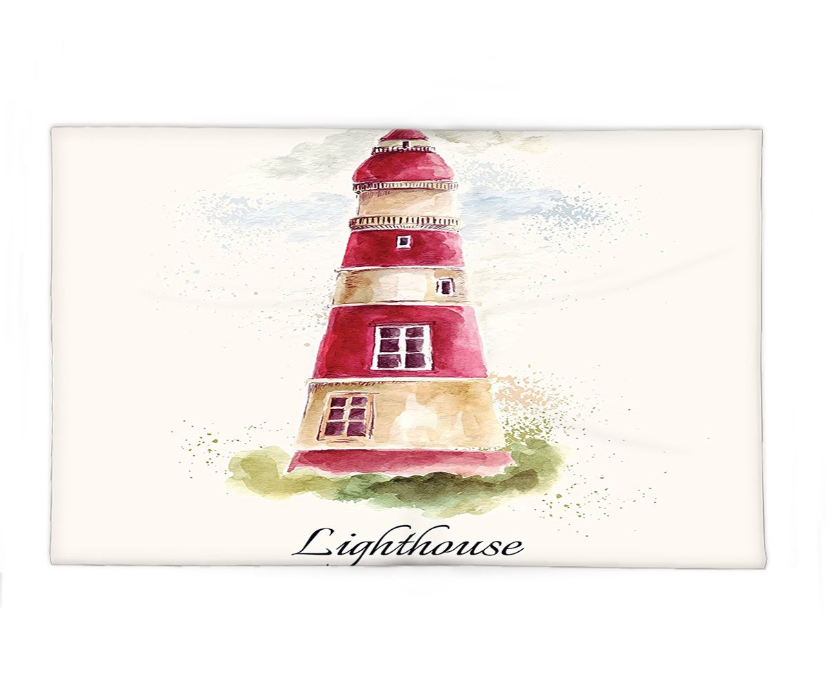 Interestlee Fleece Throw Blanket Lighthouse Decor Watercolor Lighthouse Print Pastel Faded Vintage Cursive Lettering Windows Grass Clouds Multi