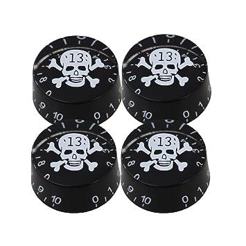 yibuy diseño de calavera negro Pomos de guitarra eléctrica botones de control de velocidad con w/LP Pack de 4: Amazon.es: Instrumentos musicales
