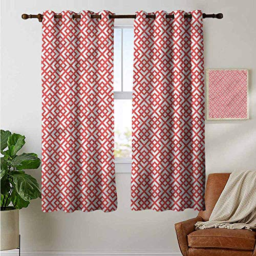 (petpany Blackout Curtain Panels Window Draperies Pink,Diamond Shapes Triangles,for Bedroom, Kitchen, Living Room 42
