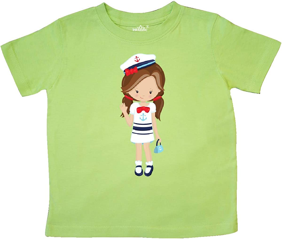 Brown Hair Toddler T-Shirt Skipper inktastic Cute Girl Boat Captain