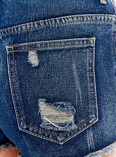 Con In 7919k Blu Oodji E Shorts Ricami Ultra Jeans Disegno Donna A7qP6S