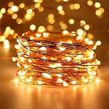 Guirnalda De Luces Led De 50 Ledes Funciona Con Pilas Luz Blanca Cálida Con Control Remoto Impermeable Alambre De Cobre Luces Decorativas Para Dormitorio Navidad Casa Y Patio Jardín Y Exteriores