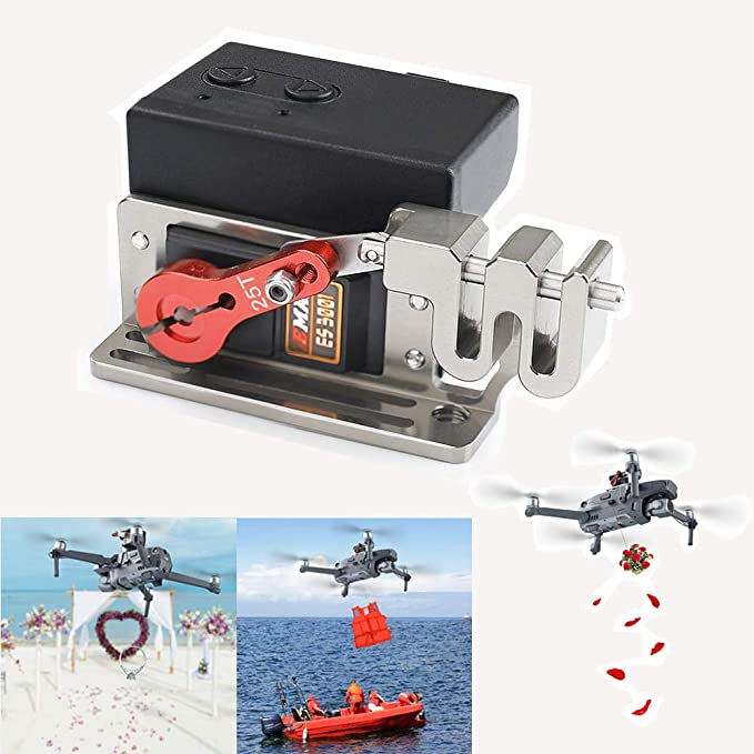 Hanatora Dual Drop Version+Velcro Strips for Mavic 2 Pro//Zoom Drone,Clip Payload Airdrop Release Dropper Delivery Transport Device Wedding Drone Fishing Bait Search /& Rescue Kit