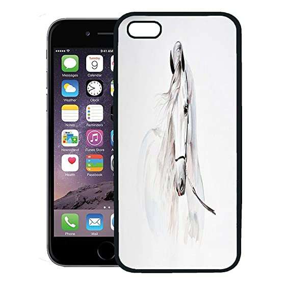 separation shoes fa61c f12cd Semtomn Phone Case for iPhone 8 Plus case,Arab Watercolor Painting of  Andalusian Horse Portrait Stallion White iPhone 7 Plus case Cover,Black
