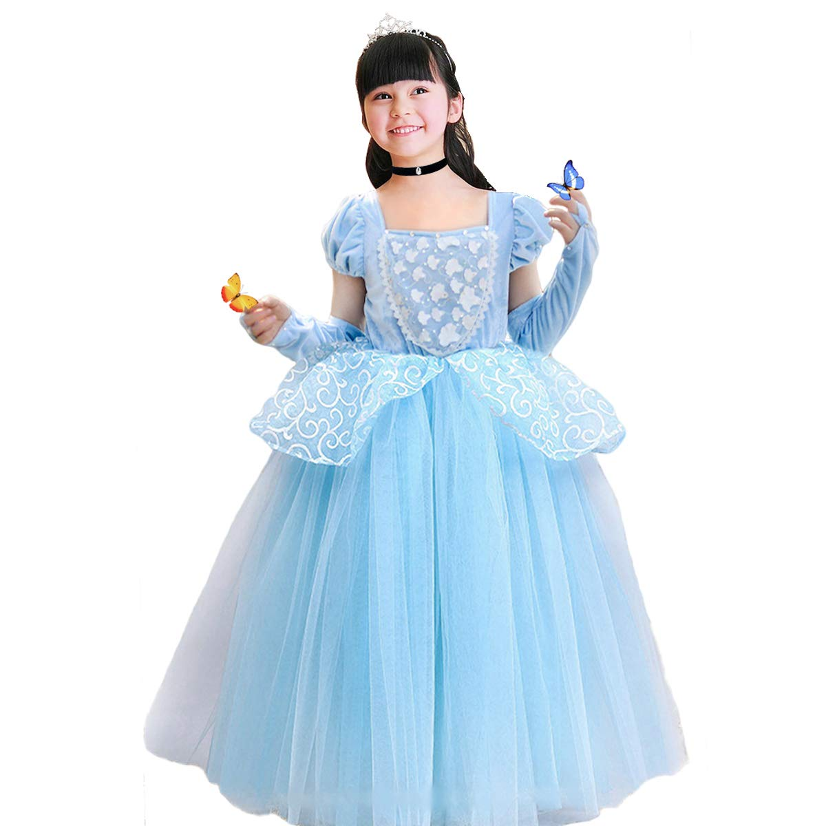 Cinderella Costumes Girls Princess Dress Up Fancy Halloween Christmas Party with Tiara and Choker Set Blue by TYHTYM (Image #2)
