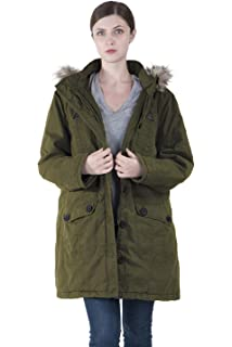 831503f9e4c Infron IN FRONT Women Winter Long Outerwear Plus Size Cotton Hooded Parka  Coat with Detachable Faux