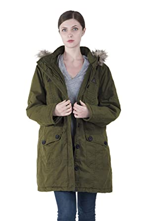 32e3be1e50c Infron IN FRONT Women Winter Long Outerwear Plus Size Cotton Hooded Parka  Coat with Detachable Faux Fur for Chirstmas ArmyGreen at Amazon Women s  Coats Shop