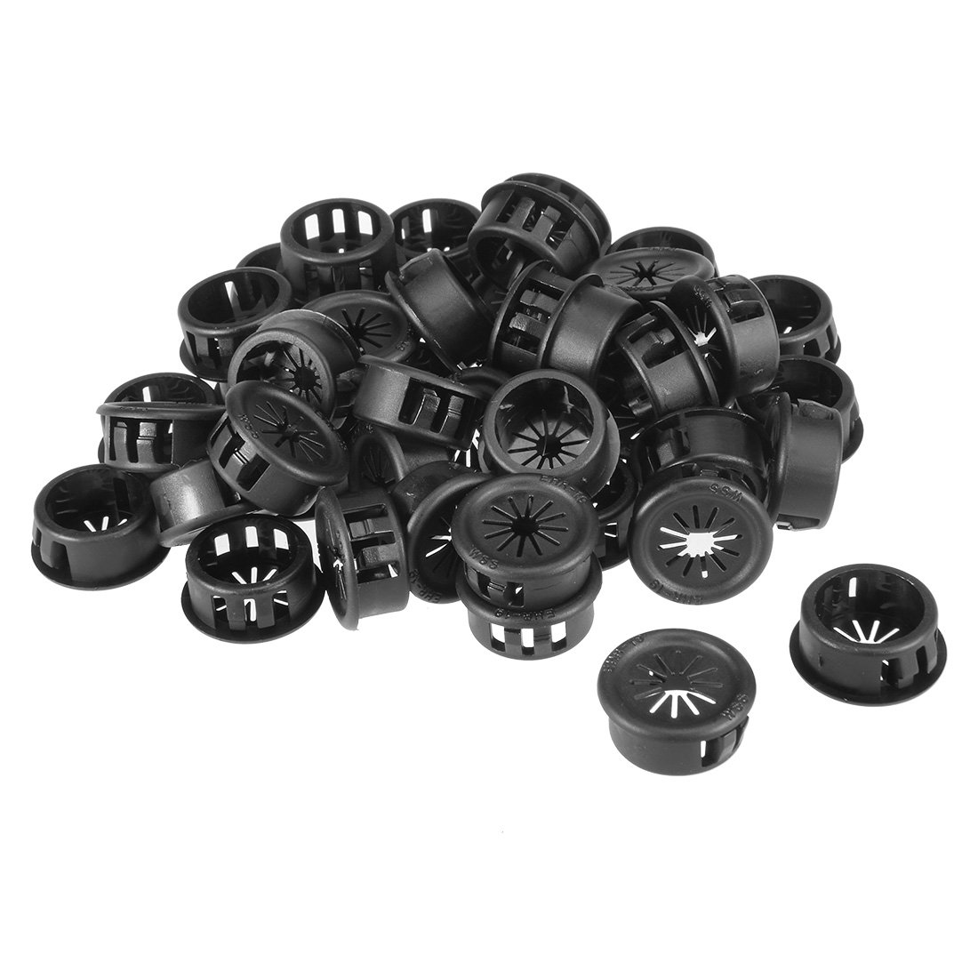 uxcell 45pcs 19mm Mounted Dia Cable Hose Snap Bushing Grommet Protector Black