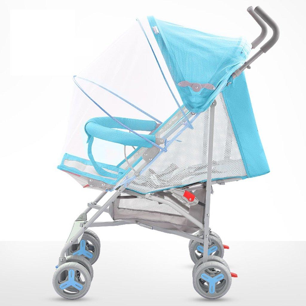HAIZHEN マウンテンバイク ベビーカート軽量Foldableは、子供のトロリーを座って/横たわることができますフルネットワーク換気調節可能な日除け蚊帳と炭素鋼EVA泡ショックアブソーバーホイール赤ちゃんキャリッジ38 * 61 * 102センチメートル 新生児 B07DLCKNFLBlue-2