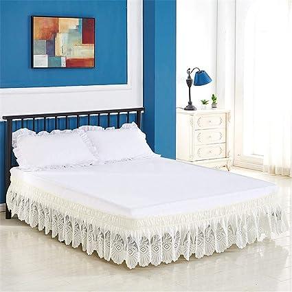 Encajes Elástico Falda De Cama para Somier con Volantes Plisado Faldón para Cama Grande Extragrande Falda De La Cama para Dormitorio Debajo del ...