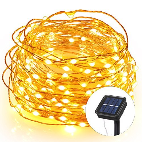(Homaz Solar String Lights 33ft 100 LEDs Fairy String Lights, Ambiance lighting for Patio, Lawn, Landscape, Home, Wedding, Christmas Party, Xmas Tree, Waterproof (Warm White))