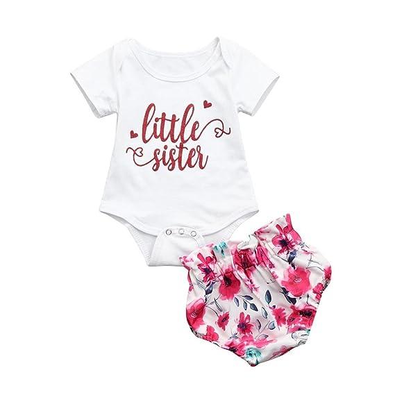 ASHOP Bebé Monos, Little Sister Imprimir Romper Jumpsuit Shorts ...