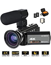 ACTITOP 4K Camcorder, Video Camera 48 mp Full HD 1080P Wifi Ir Night Vision 16X Digital Zoom Video Camcorder with External Microphone, Wide Angle Lens, LED Video Light and Camera Bag