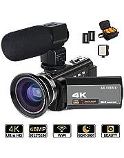 4K videocamera, Actitop video camera 48MP Full HD 1080p WiFi IR visione notturna 16x Zoom digitale videocamera con microfono esterno, obiettivo grandangolare, video LED luce e borsa per fotocamera