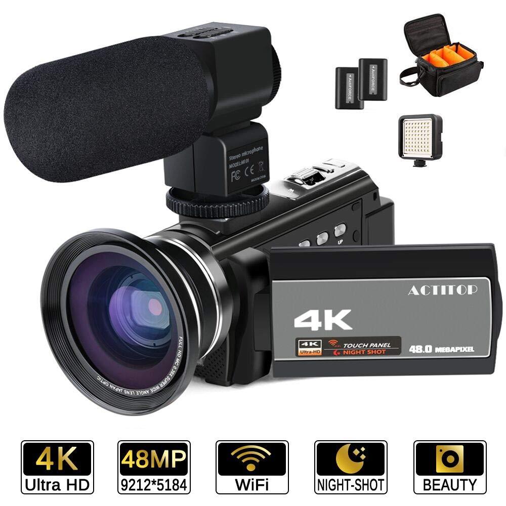 ACTITOP Videocámara 4K, 48 MP Full HD 1080p WiFi IR visión Nocturna 16X Zoom Digital videocámara con micrófono Externo, Lente Gran Angular, luz de ...