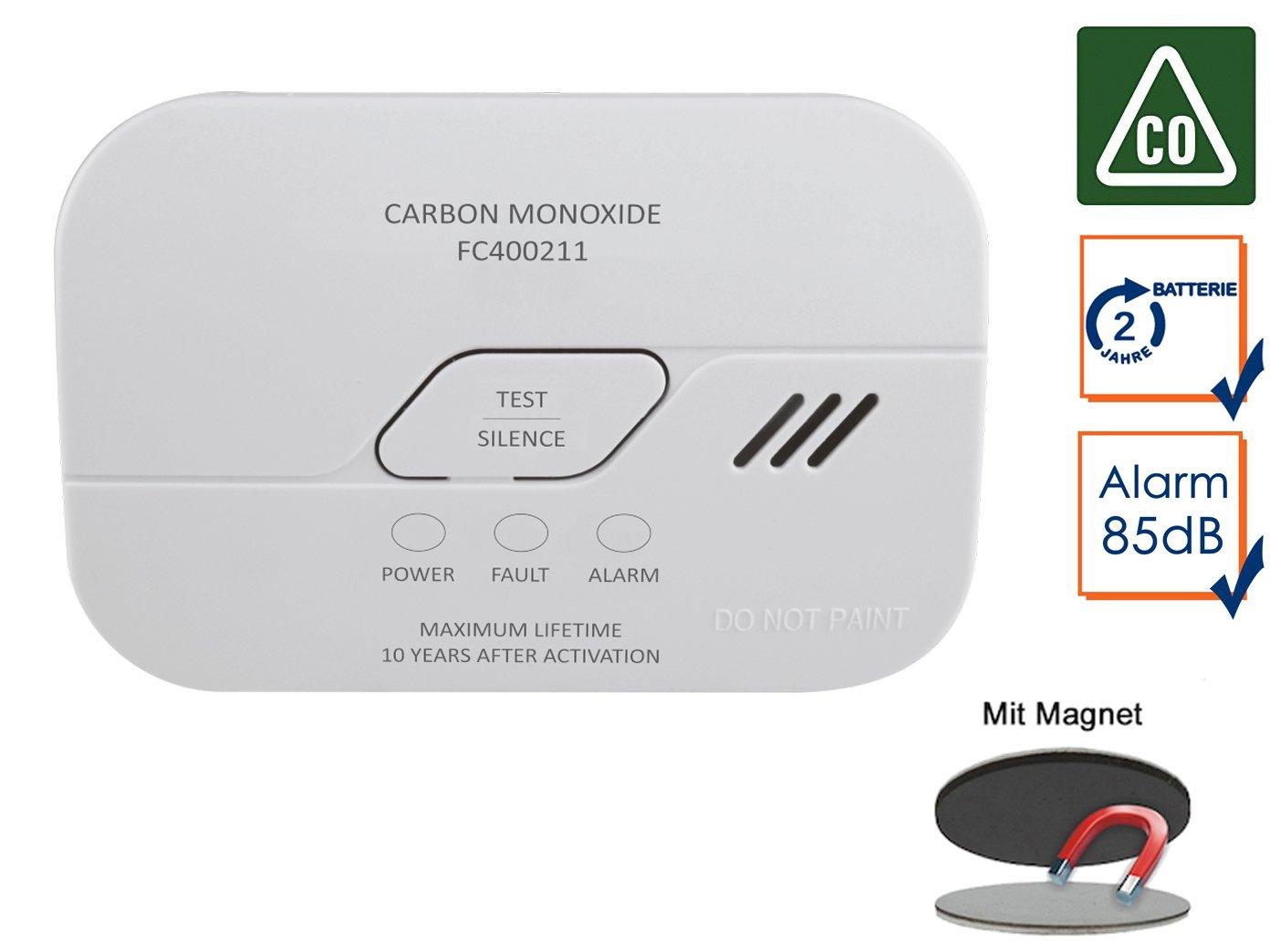 Elro - Detector de Monóxido de Carbono con Batería de 2 Años, Detector de Monóxido de Carbono, 10 Años Sensor con Práctica Easy & Clean magnético Montaje: ...
