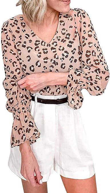 TOPKEAL Blusa de Gasa Suelta con Estampada de Leopardo para Mujer Maduras Casual Camisa Pantera de Manga Larga de Damas: Amazon.es: Ropa y accesorios