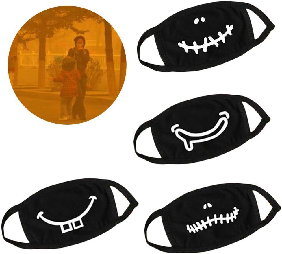 Mr.Better Unisex Black Cotton Gesichtsschutz Funny Cartoon Sewing Teeth Staubdichter Mundschutz