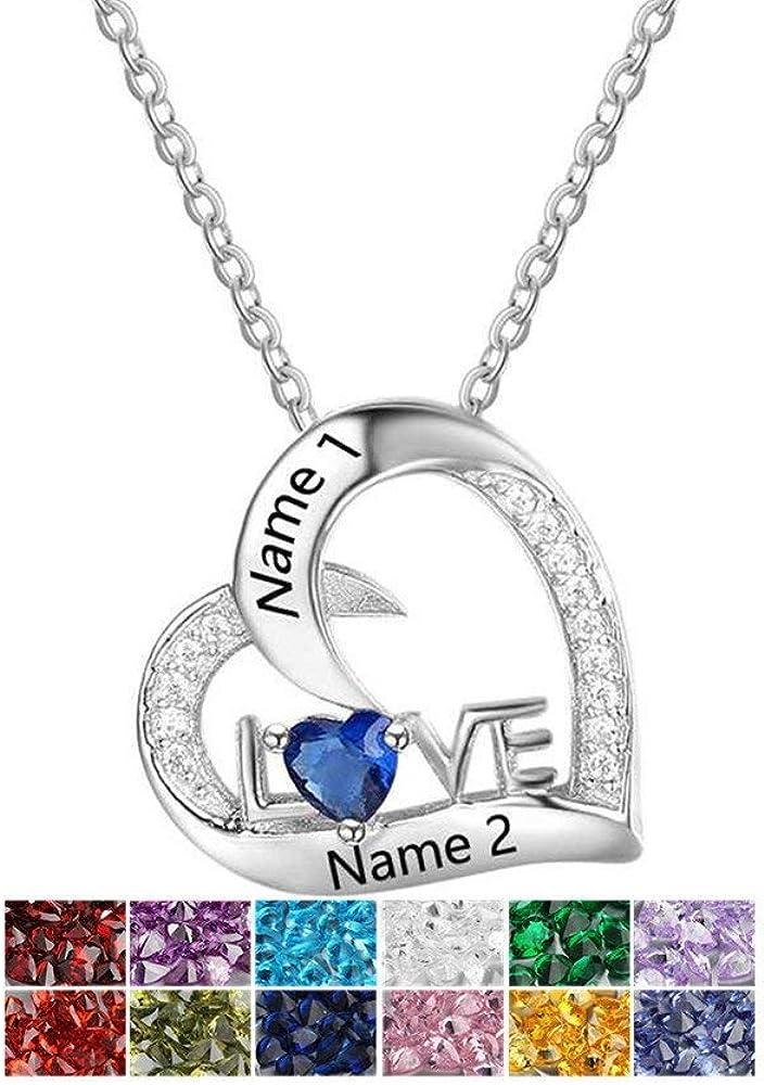Grand Made Collar Personalizado con Piedras simuladas Piedra de Nacimiento con Piedras Preciosas de Plata Collar Hecho de Plata de Ley 925 con el Nombre Collar con Collares de la Madre