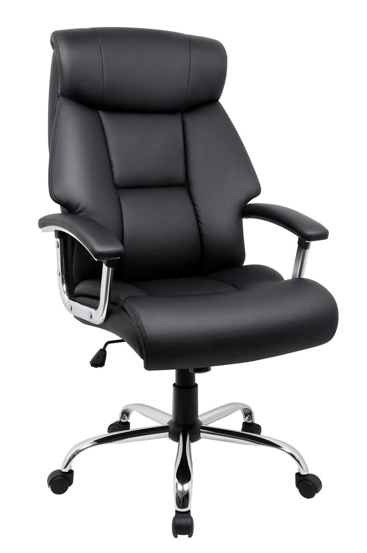 Amoiu Sedia da ufficio, sedia poltrona con disegno ergonomico e schienale larga, sedia di pelle di qualità alta, supporto la testa, seduta con doppio strato Nero ZHENGYU