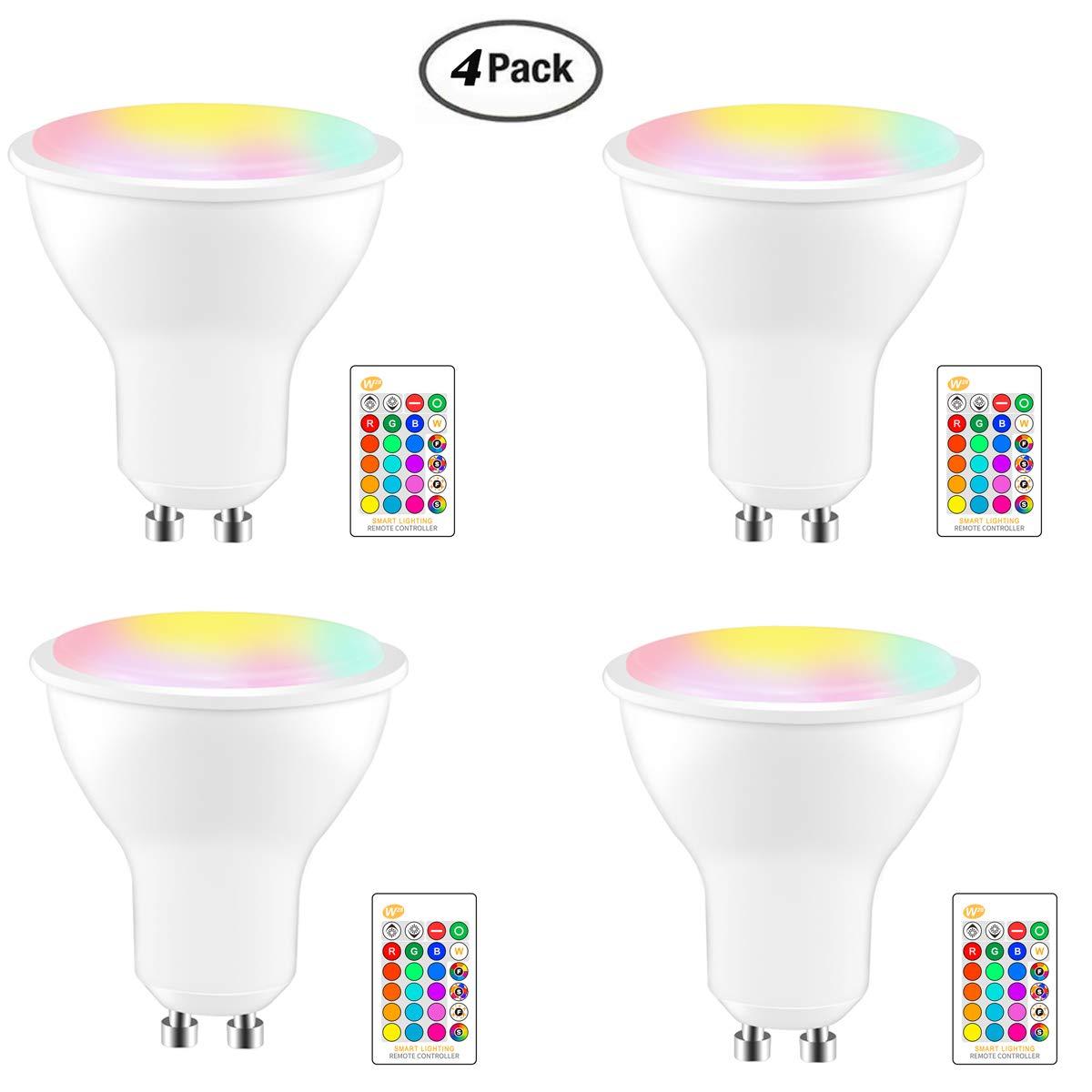 Lá mpara LED RGB, Frontoppy 8W GU10 LED Spotlight RGBW Dimmable Cambio de color con mando a distancia, 200 lm, Timing,4 Paquetes (Baterí a de remoto no incluida) (RGB+ Blanco Frio) 4 Paquetes (Batería de remoto no incluida) (RGB+ Blanco Frio)