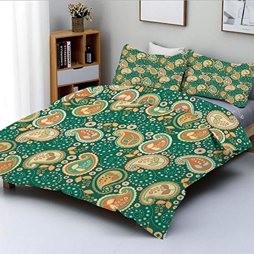 Duplex Print Duvet Cover Set Queen Size,Ethnic Paisley Leaves with Arabesque Folkloric Features Floral PatternDecorative 3 Piece Bedding Set with 2 Pillow Sham,Apricot Hunter Green,Best Gift for Kids