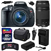 Canon EOS Rebel T5i (700D) Digital SLR with 18-55mm STM and EF 75-300mm f/4-5.6 III Lens includes 32GB Memory + Large Case + Extra Battery + Travel Charger + Memory Card Wallet + Cleaning Kit (32GB Value Bundle) 8595B003