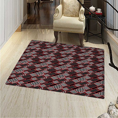 (Red Black Area Silky Smooth Rugs Geometric Rectangle Frames Retro Patterns Polka Dots Houndstooth Home Decor Area Rug 4'x5' Black White Scarlet)