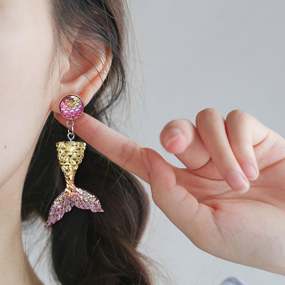 BraveWind 5 Pairs Mermaid Tail Stud Earrings Girl Women Jewelry Fairytale Back Sea Maid Earrings