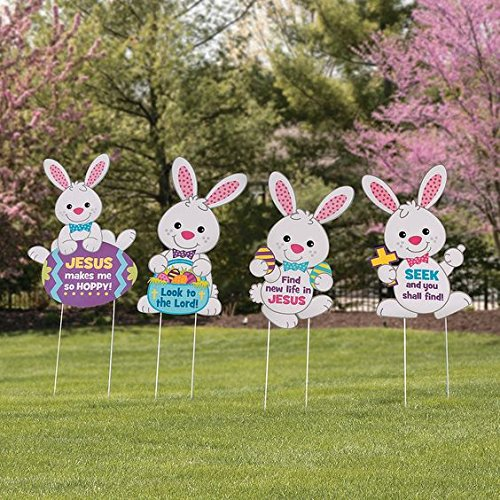Set of 4 religious Easter bunny rabbits whimsical Spring Yard sign garden decoration (Outdoor Spring Decorations)