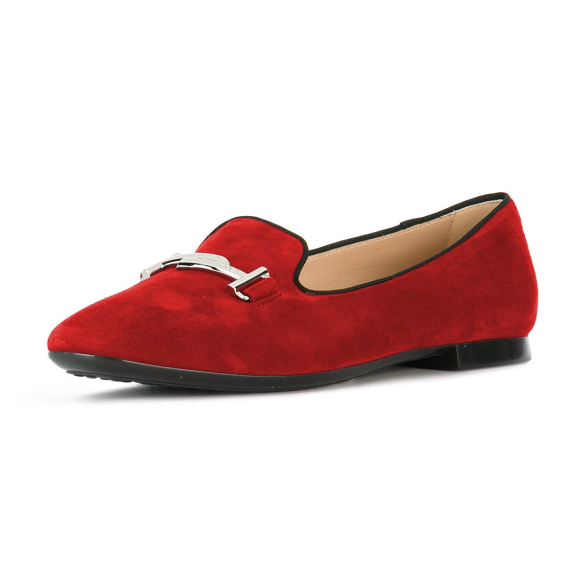 XYD Comfortable Low Heel Slip On Suede Flats Pointed Toe Ballet Loafer Dress Shoes for Women B0794ZNC59 13 B(M) US|Red