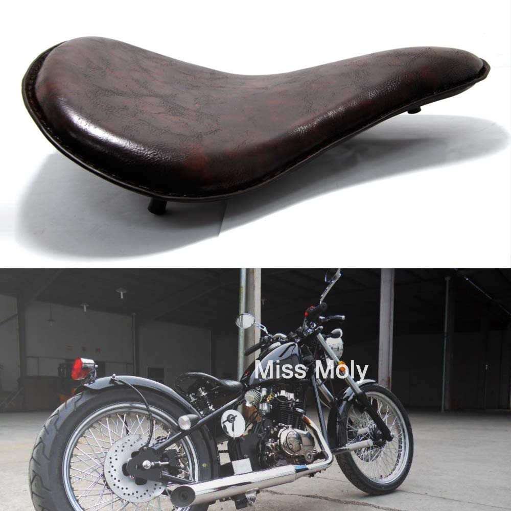 Negro Motocicleta Solo Asiento de Cuero con 3 Pulgadas Kit de Soporte de Montaje de Resorte para Chopper Sportster Bobber