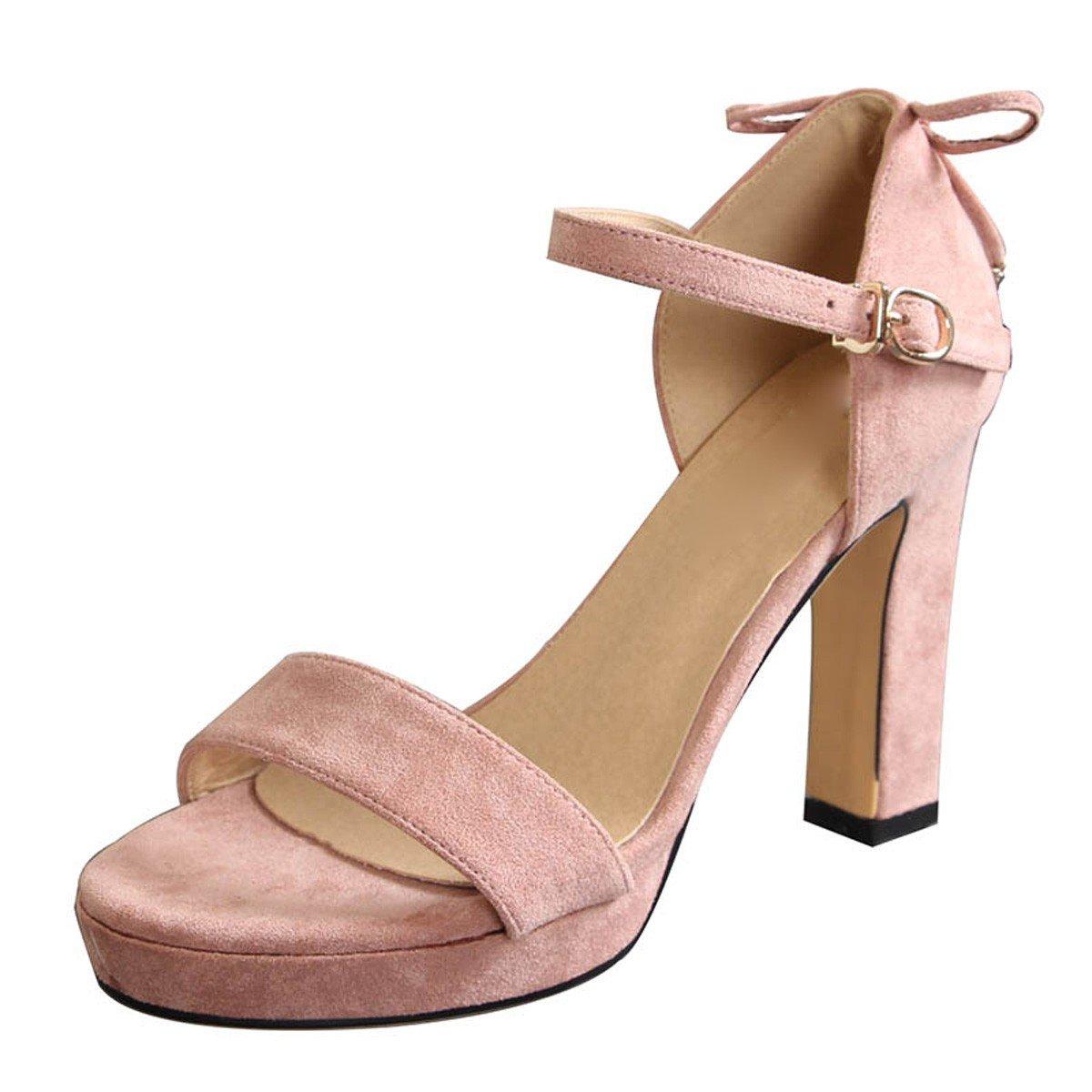 Rose GTVERNH Chaussures Femme Mode Tables DE 10 Cm De Talon Pointe étanches des Chaussures De Femmes Summer Sexy Arc Boucles Dur Simples Sandales. Thirty-seven