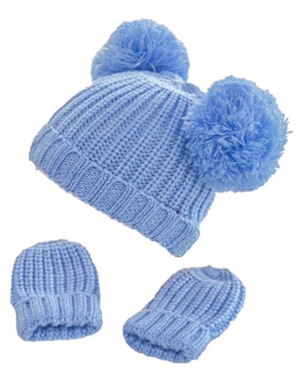 Infants mittens and hat set style H492 colour blue 12-24 months Soft Touch
