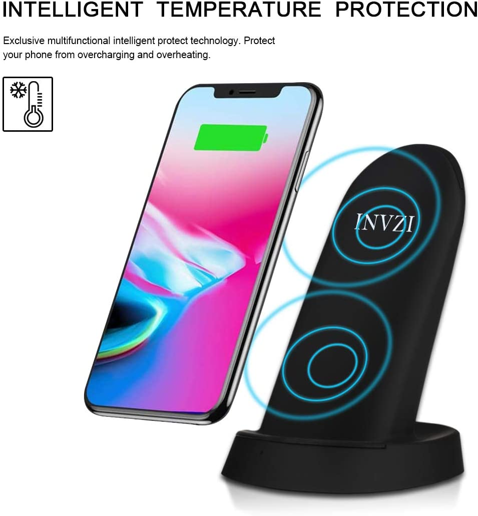 and More Fast Wireless Charging Stand Compatible for Samsung Galaxy S9 S9+ S8 S8+ S7 Note 8 iPhone X 8 8+ . INVZI S02 Stand INVZI Wireless Charger No AC Adapter