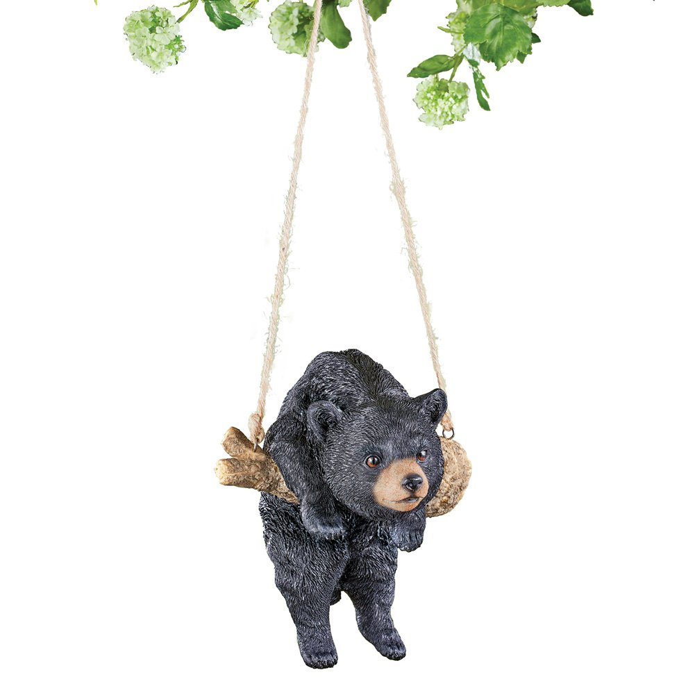 Collections Etc Swinging Black Bear Woodland Animal Hanging Garden Decoration
