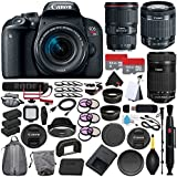 6Ave Canon EOS Rebel T7i DSLR Camera 18-55mm Lens (International Model) + Canon EF 16-35mm f/4L IS USM Lens (International Model) + Canon EF-S 55-250mm Lens + Rode VideoMic GO Bundle