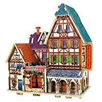 Robotime 3D Wooden Jigsaw Puzzle DIY House Building Kit Handmade Educational Toy Craft Kit for Children (France Hotel)F127