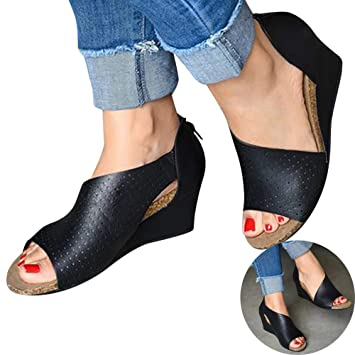 cfbe3bc3583 Amazon.com: Woman Hollow Wedged Roman Sandals Comfy Fish Mouth High ...