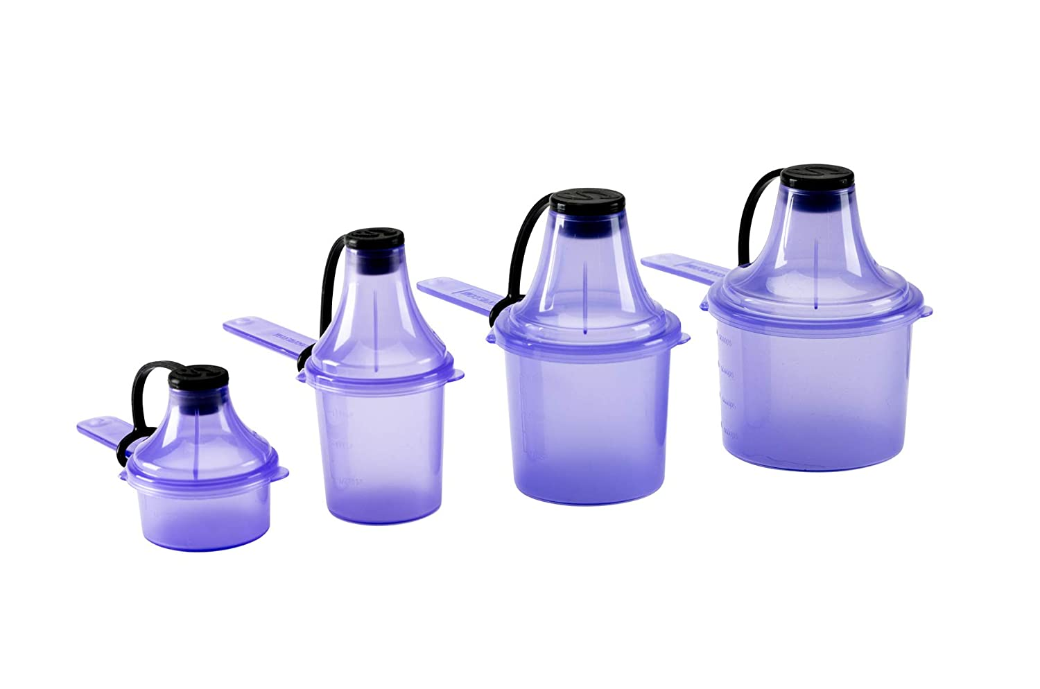 Scoopie Quad Pack 4 Count | Portable Scoop and Funnel Travel Container | Pre and Post Workout Pack | On The Go Powder Dispenser For Water Bottles and Shaker Bottles (15cc / 30cc / 60cc / 90cc, Black) The Scoopie QP0002