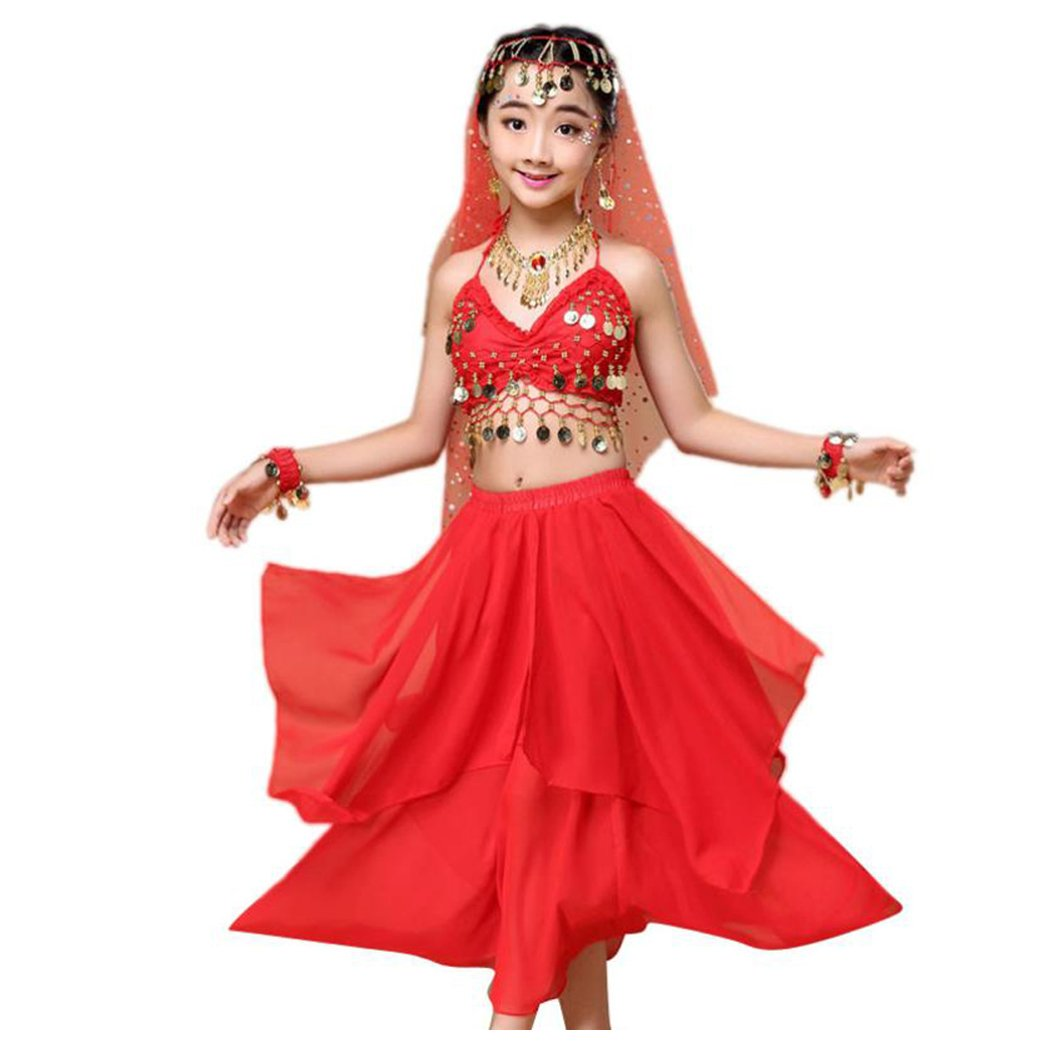 Inkach Baby Dance Dresses, Kids Girls India Belly Dance Outfit Costume Top+Skirt Set Clothing (XS, Red)