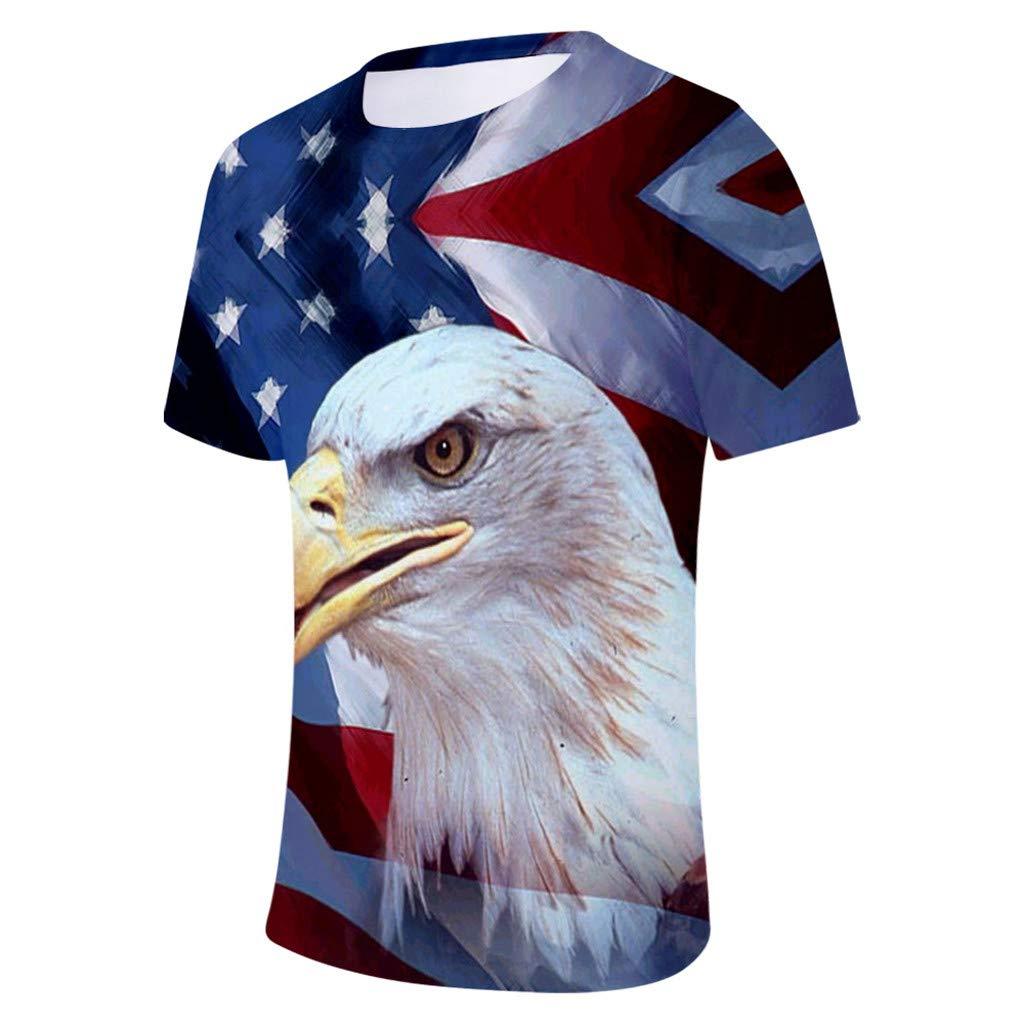 Lazzboy Uomo T-Shirt Aquila Americana//Bandiera USA Stampare Plus Size Giorno Rock Equipaggio Manica Corta Top Bluse