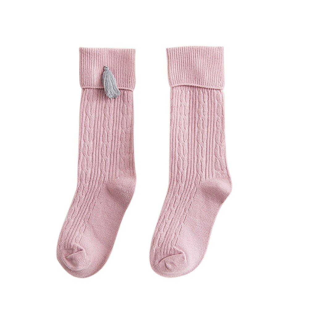 AkoMatial Combed Cotton Warm Kids Sock Stretchy Tassels Knee High Socks for Grils