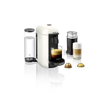 Nespresso VertuoPlus Coffee and Espresso Machine Bundle with Aeroccino Milk Frother by Breville, White