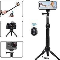 Alfort Bastone Selfie, Selfie Stick Treppiede Bluetooth Portatile con Telecomando Bluetooth per iPhone X / 8 / Samsung A5 / S9 / Huawei/Sony / Gopro e Altri iOS/Android (6.0 Pollice)