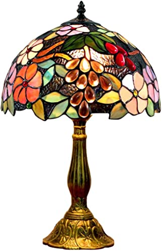 FUMAT Bedside Table Lamp LED E26 Bulb Tiffany Stained Glass Grape Rose Handmade Shade ON Off Switch 12 Inch Bedroom Home Deco Light