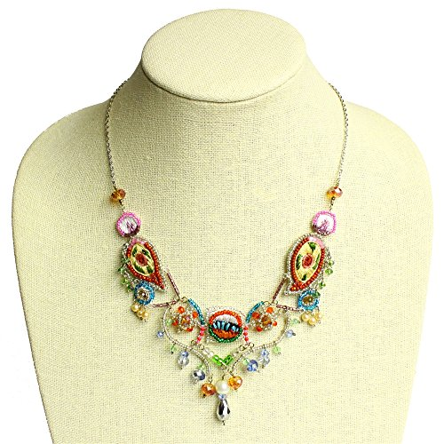 Splendid Sophia Necklace Dramatic Crystals Beads Weave Magnetic Clasp One of a Kind NE501